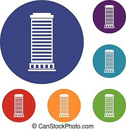 Column icons set in flat circle reb, blue and green color...