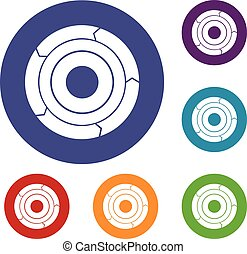 Chart pie with arrows icons set in flat circle reb, blue and...