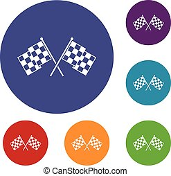 Checkered racing flags icons set in flat circle reb, blue...