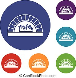 Pizza oven with fire icons set
