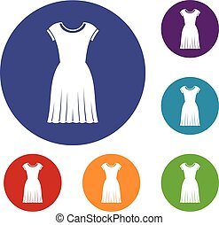 Woman dress icons set in flat circle reb, blue and green...