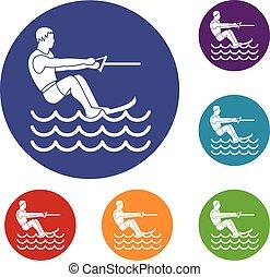 Water skiing man icons set in flat circle reb, blue and...