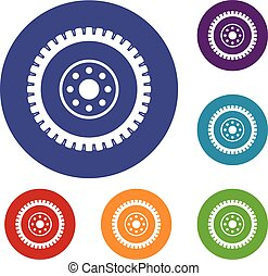 Gear wheel icons set in flat circle reb, blue and green...