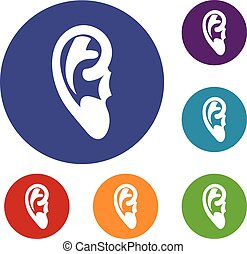 Ear icons set in flat circle reb, blue and green color for...