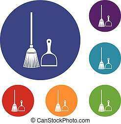 Broom and dustpan icons set in flat circle reb, blue and...