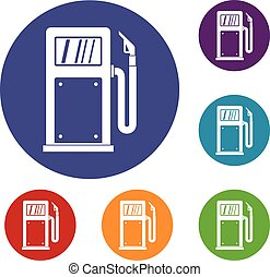 Gasoline pump icons set in flat circle reb, blue and green...