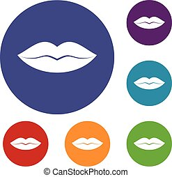 Female lips icons set