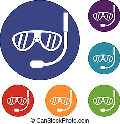 Swimming mask icons set in flat circle reb, blue and green...