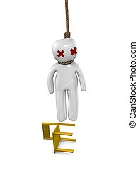 Suicide - A person suicide hanging concept, Isolated over...