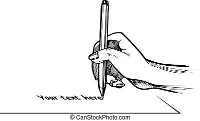 Hand writing or signing something on a sheet of paper