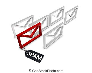 Spam eMail filter - eMail spam filter 3d concept, Isolated...