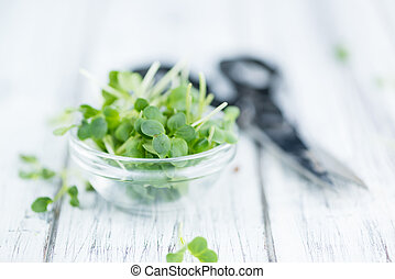 Cutted Cress (selective focus) - Cutted Cress on a vintage...