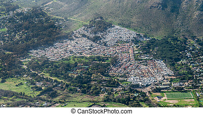 Township in Cape Town, South Africa (aerial view) shot from...
