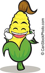 Laughing sweet corn character cartoon