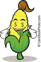 Money mouth sweet corn character cartoon
