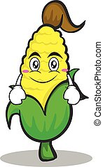Smile face sweet corn character cartoon