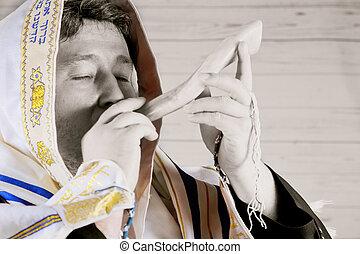 Shofar a tallit on white background - rosh hashanah jewesh...