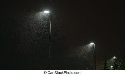 Rainy Street at Night. Row of Lampposts. - Rainy street at...