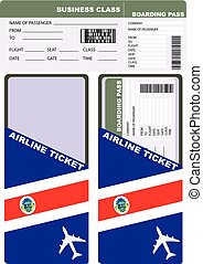 Plane ticket in business class flight to Costa Rica. Service...