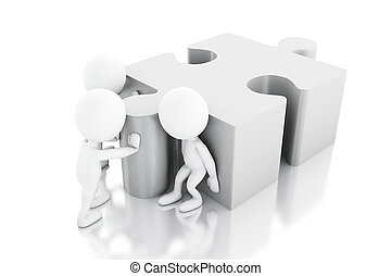 3d White people solving a puzzle - 3d illustration. White...