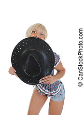 Young beauti cowgirl. Isolated on white background