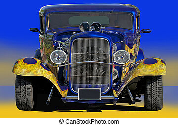1932 Blue Hot Rod - A beautiful 1932 blue wflames hot rod is...