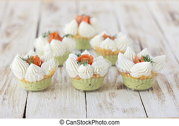 Salmon trifle snack - Salmon salted trifle snack with...