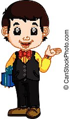 happy and well dressed boy holding a gift box - illustration...