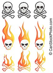 Skull set with flames and bones.