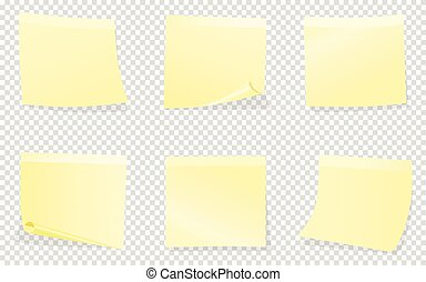 Yellow sticky notes isolated on transparent background