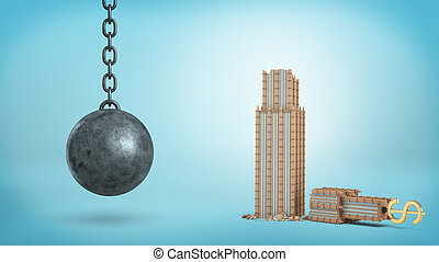 3d rendering of a black iron wrecking ball hanging beside a...