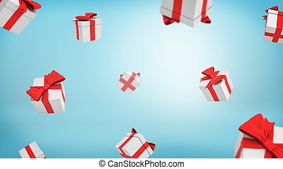 3d rendering of a lot of white closed gift boxes tied with red ribbons falling from above on blue background.