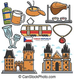Czech travel landmarks and culture famous sightseeing vector...