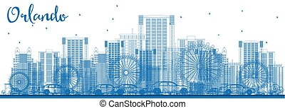 Outline Orlando Skyline with Blue Buildings.