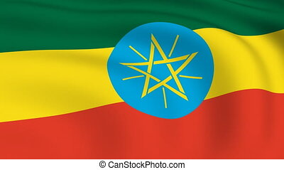 Flying Flag of ETHIOPIA | LOOPED |