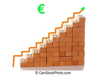 bricks and arrow to top - stairway symbol with bricks and...