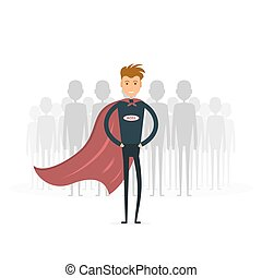 Businessman standing out from the crowd. Business idea and...
