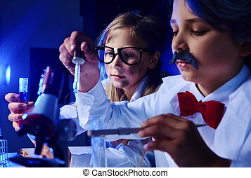 Little chemists working about something