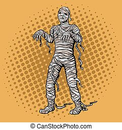 Walking mummy pop art style vector illustration - Walking...