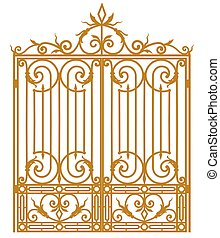 Forged iron gate - metal gate with forged ornaments on a...