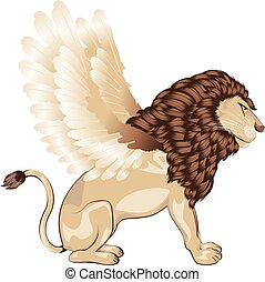 Lion with Wings Cartoon - Fantastic animal lion with bird...