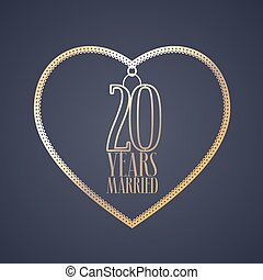 20 years anniversary of being married vector icon, logo