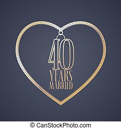 40 years anniversary of being married vector icon, logo