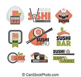 Sushi bar or Japanese restaurant chopsticks vector flat...