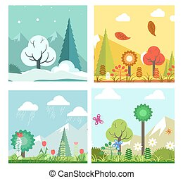Season change in forest - Vector illustration of different...