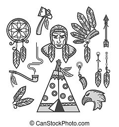 Native American Indians traditional culture vector sketch...