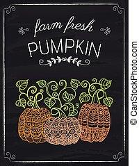 Pumpkins doodle on the black board
