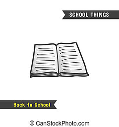 Back to School Supplies, hand drawn icon, isolated on white,...