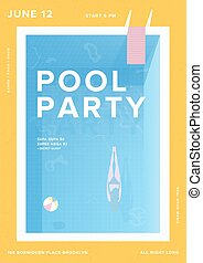 Pool party vertical poster. Open-air summer event placard....