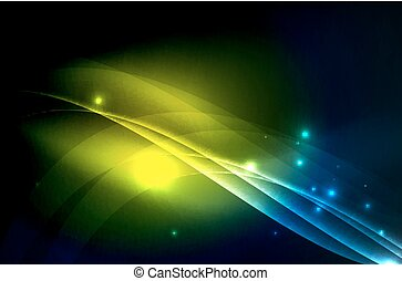 Smoky glowing waves in the dark, vector abstract background